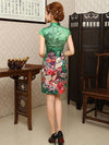Green Floral Short Cheongsam Dress