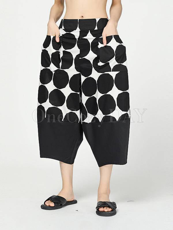 Vintage Dot Cropped Splicing Straight Leg Pants