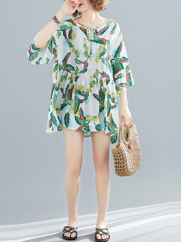 Loose Colorful leaves Printed Shirt