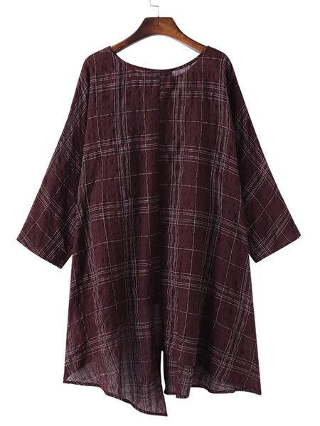 Loose Simple Style Irregular Designed Batwing Blouses