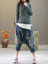 Loose Retro Embroidered Jeans Harem Pants