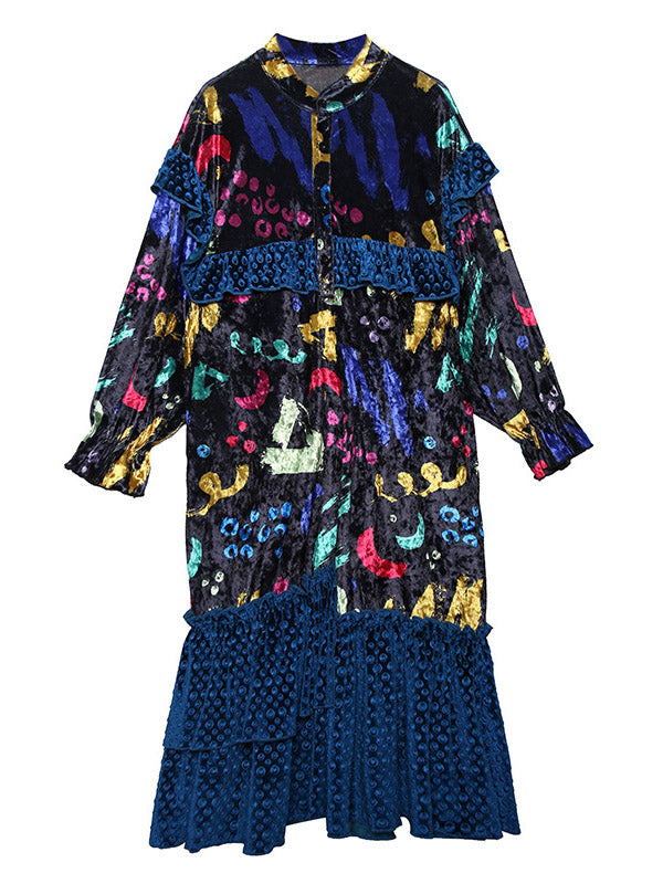 Ruffled Printed Velvet Loose Dress