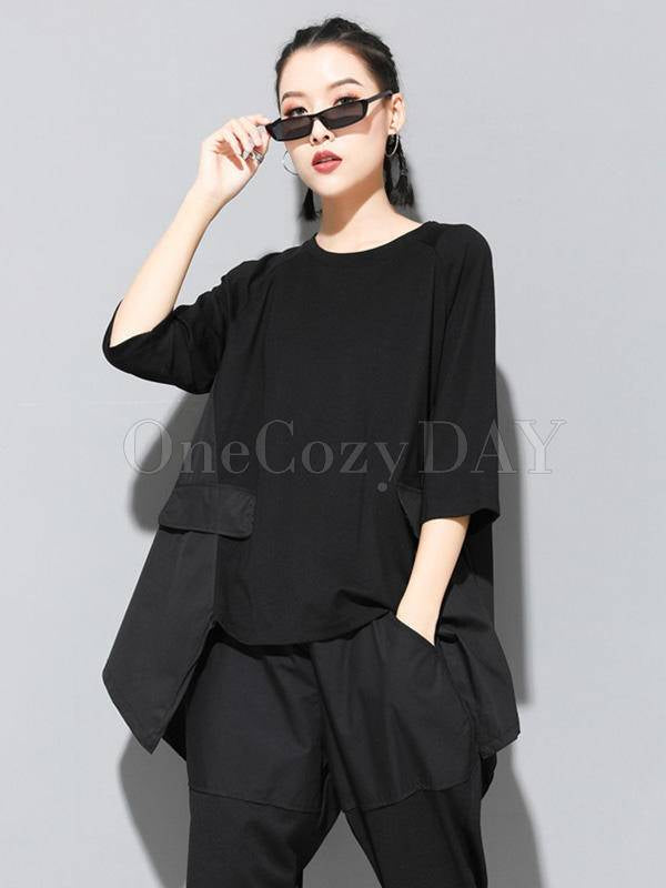 Solid Color Cropped Loose Batwing Sleeve  T-Shirt