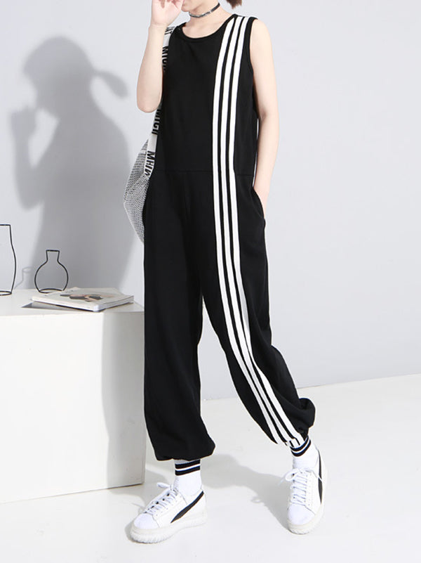 Loose Sleeveless Striped Jumpsuits