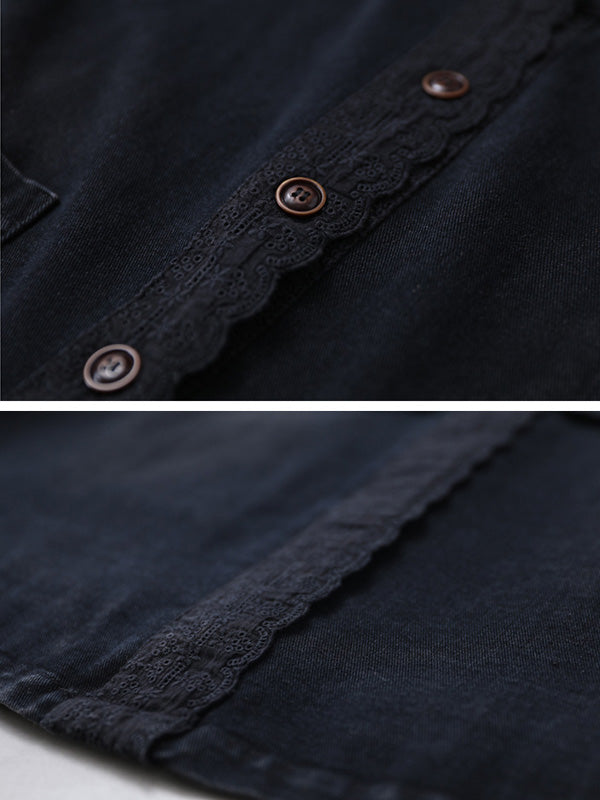 Loose Solid Split-joint Lace Denim Outwears