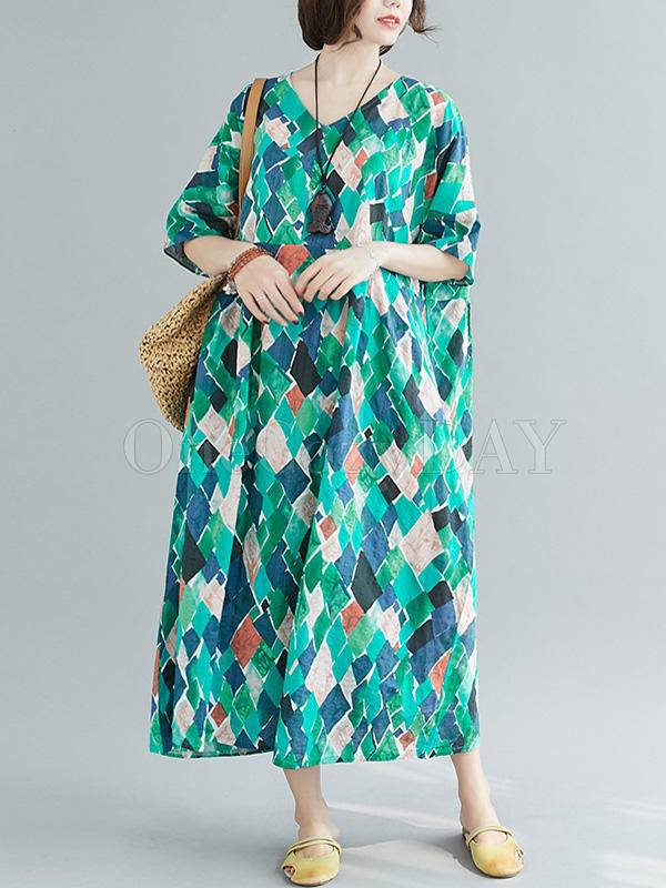 Loose Rhombus Print V-Neck Dress