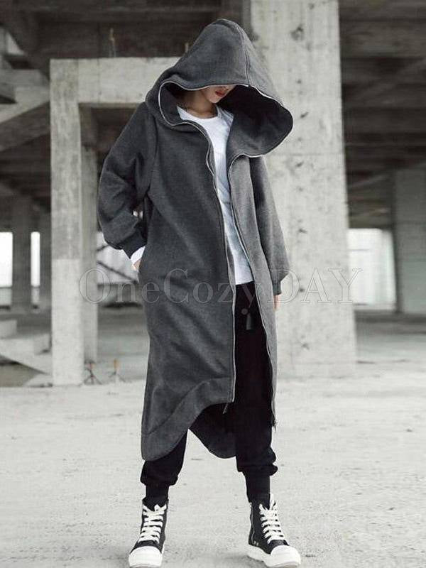 Original Black&Gray Zipper Hooded Outwears