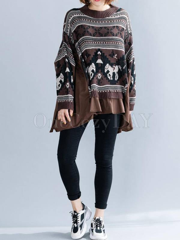 Loose Pony Pattern False-Two Cropped Splicing Shirts Sweater