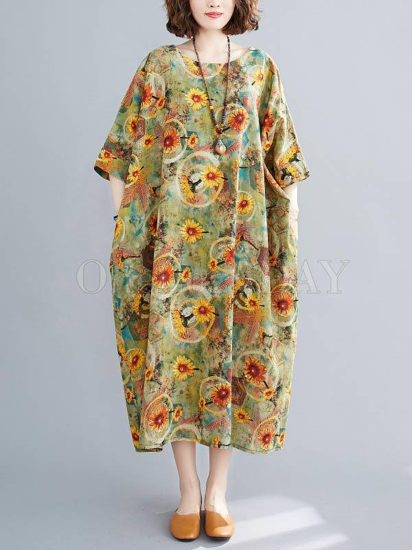 Artistic Retro Floral Round-Neck Dress