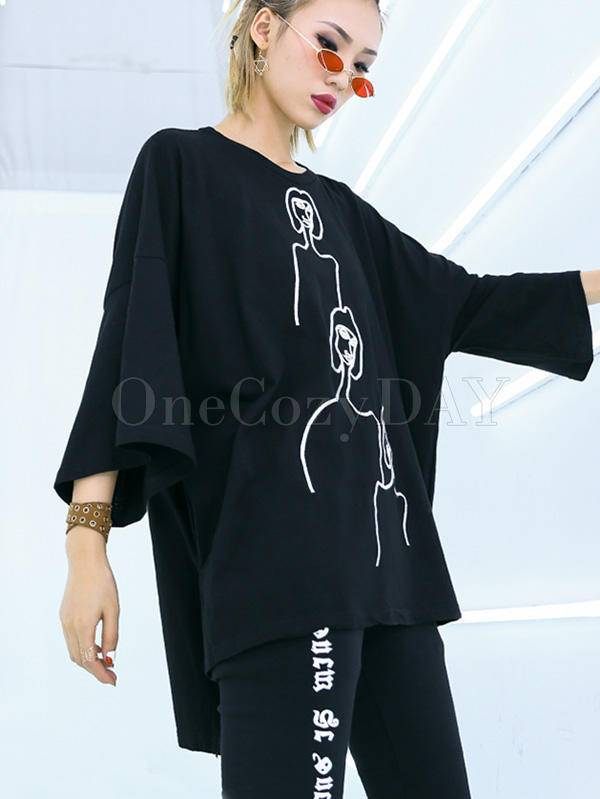 Embroidered Black&White Loose Round-Neck T-Shirt
