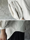Solid Puff Sleeves Blouse Top