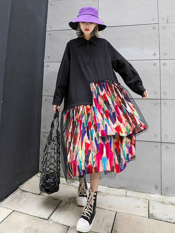 Colorful Printed Cropped Split-Joint Midi Dress