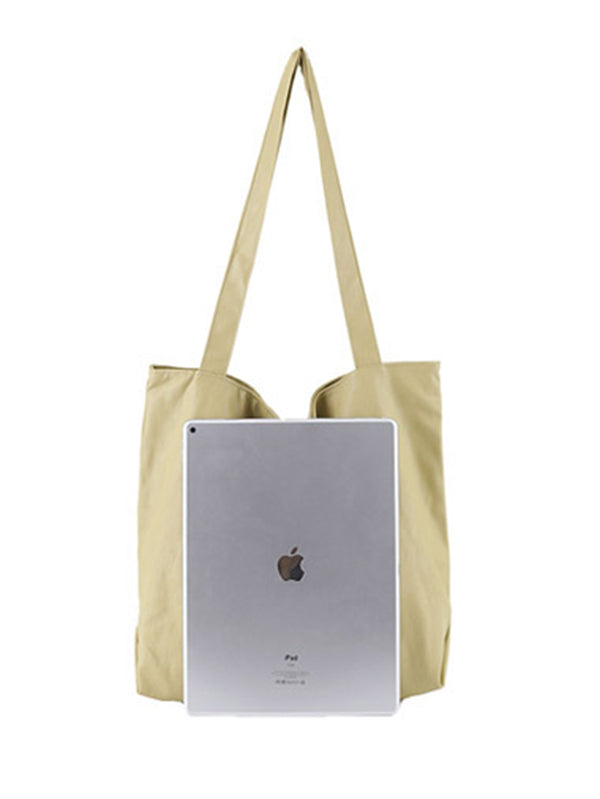 Soft Solid Handiness PU Tote Shoulder Bag