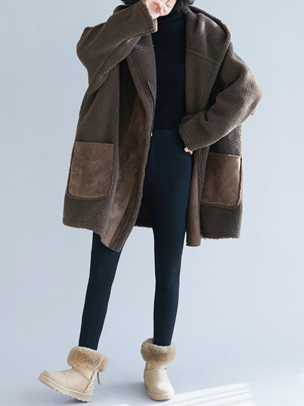 Loose Wool Hooded Coat