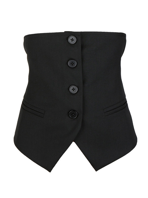 Adjustable Waist Half Suit Vest