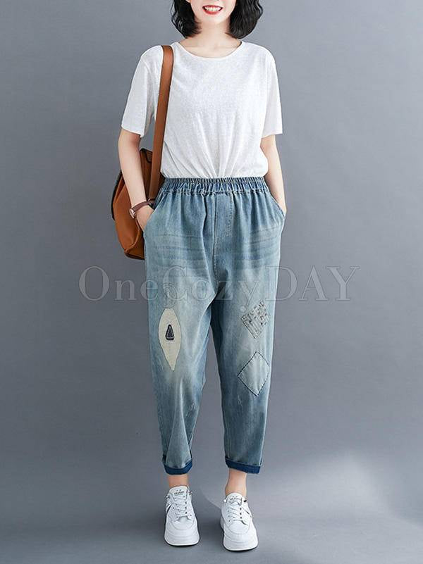 Original Applique Denim Pants