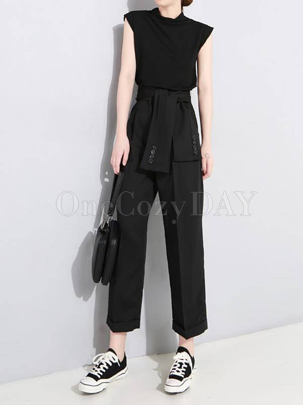 Solid Color Empire Button-Knotted Ninth Pants