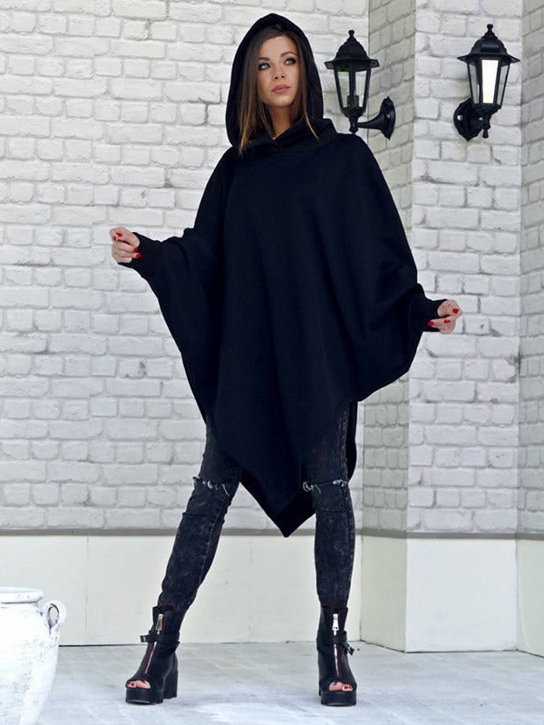 Black Batwing Sleeves With-Hat Hoodies