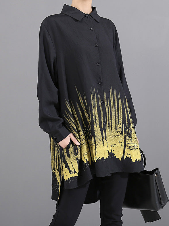 Loose Printed Asymmetric Lapel Long Shirt