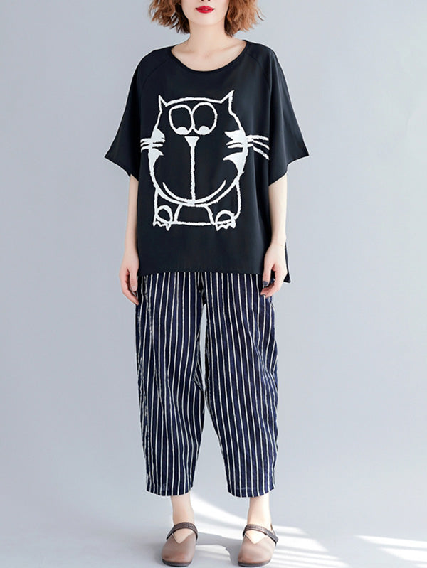 Cartoon Loose Printed T-Shirt