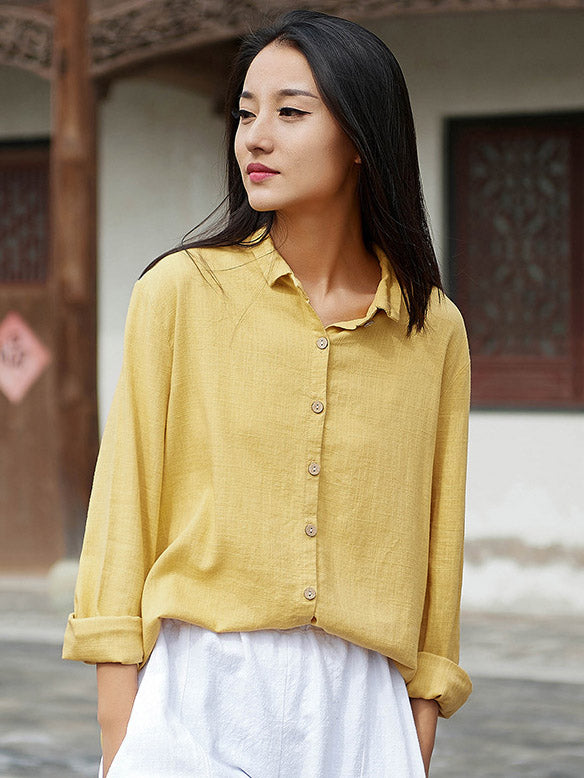 Solid Color Retro Lapel Shirt