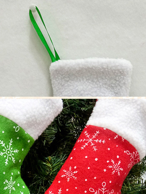 Christmas Red And Green Snowflake Stockings Decorations