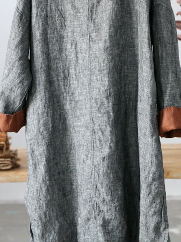 National Simple Linen Long Tops