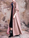 Lace-Sleeve Falbala Plaid Long Coat