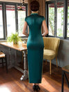 Green Side Split Long Cheongsam Dress