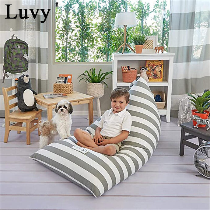 Stuff n Sit beanbag lounger grey stripe