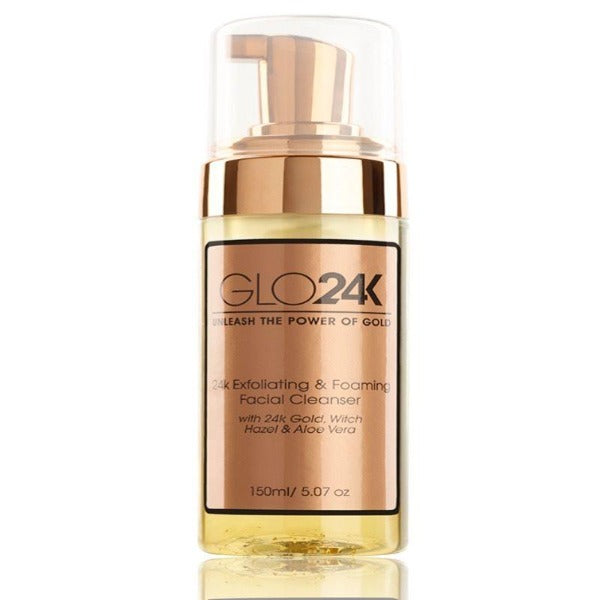 GLO24K Exfoliating & Foaming Facial Cleanser with 24k Gold, Witch Hazel, and Aloe Vera