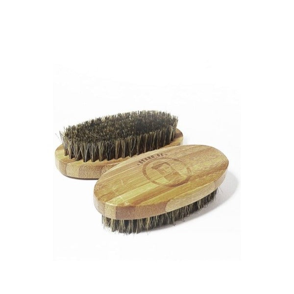 BEARD BRUSH WITH BAMBOO HANDLE (OVAL)