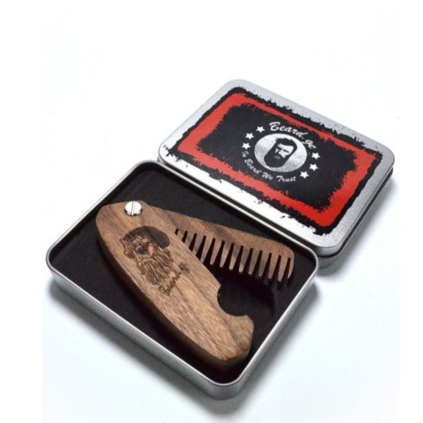 Walnut Pocket Comb With Metal Box