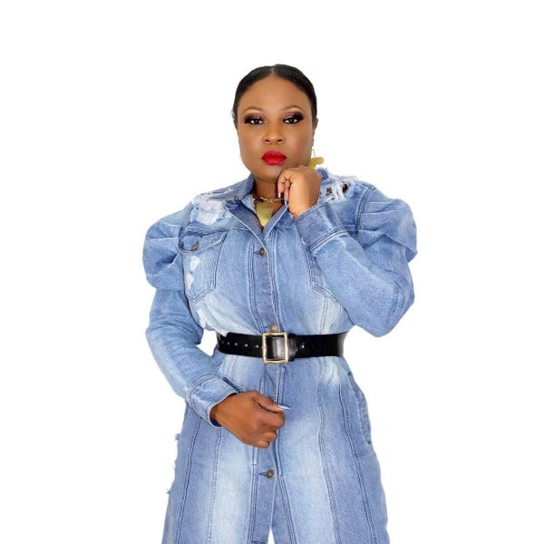 Vchic Designs | Jessica Distressed Denim - Trench