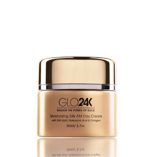 GLO24K Moisturizing Day Cream with 24k Gold, Anti-Aging with Vitamins, Hyaluronic Acid, Collagen