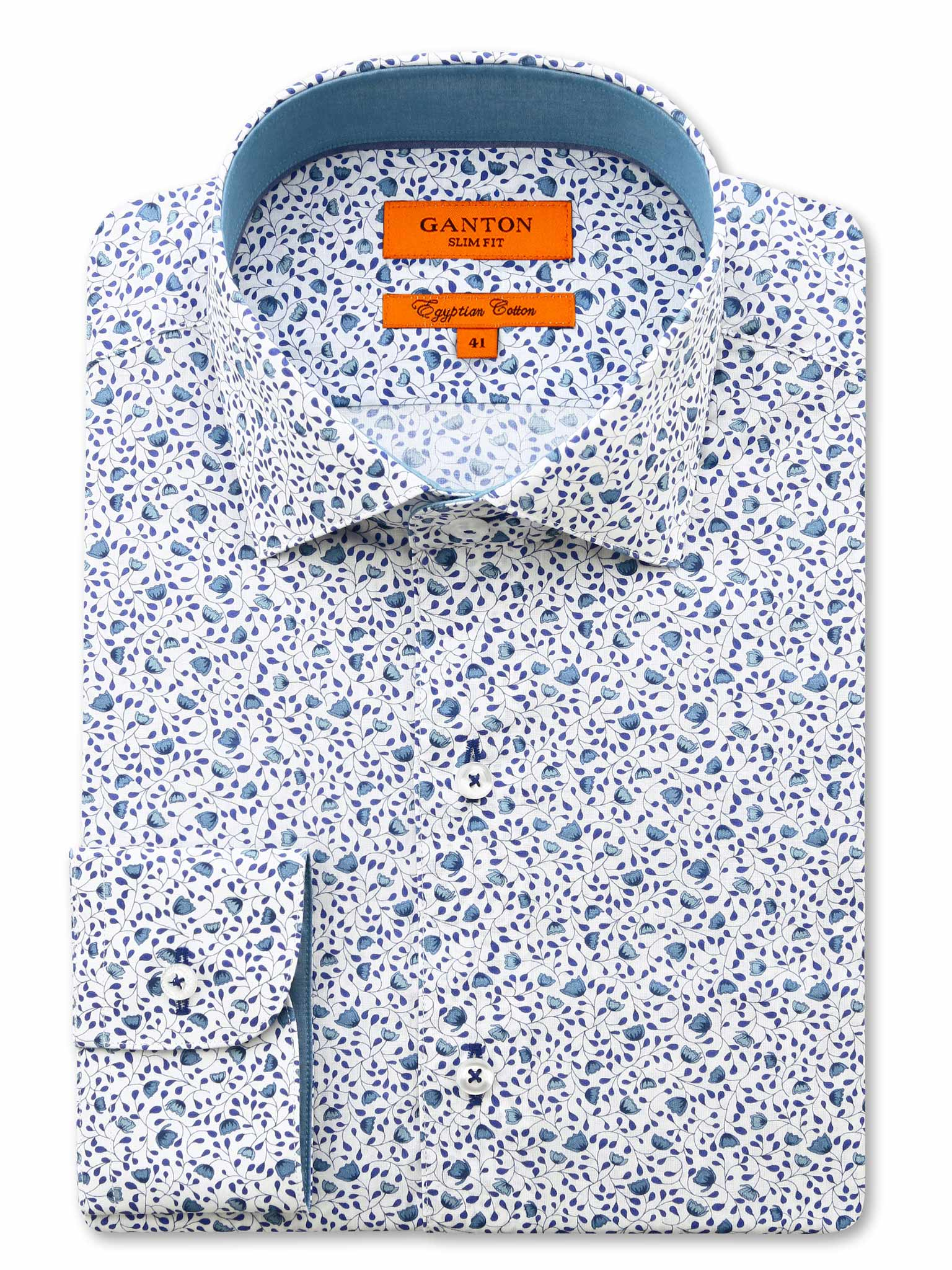 Mid Blue Floral Print Slim Fit Clint Egyptian Cotton Shirt