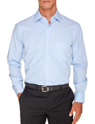 Blue Tailored Fit Elijah Easy Iron Superfine Cotton Essentials Shirt