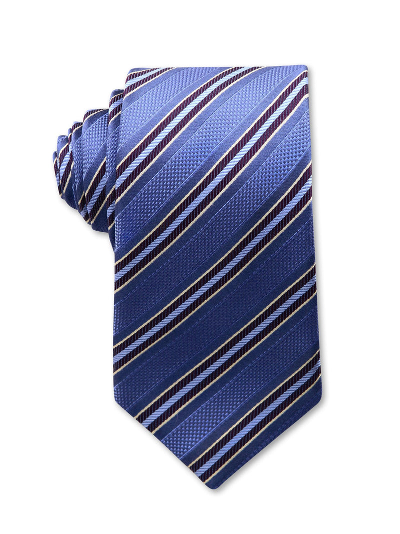 Blue Diagonal Stripe 7cm Mark Luxury Silk Tie Made in Australia