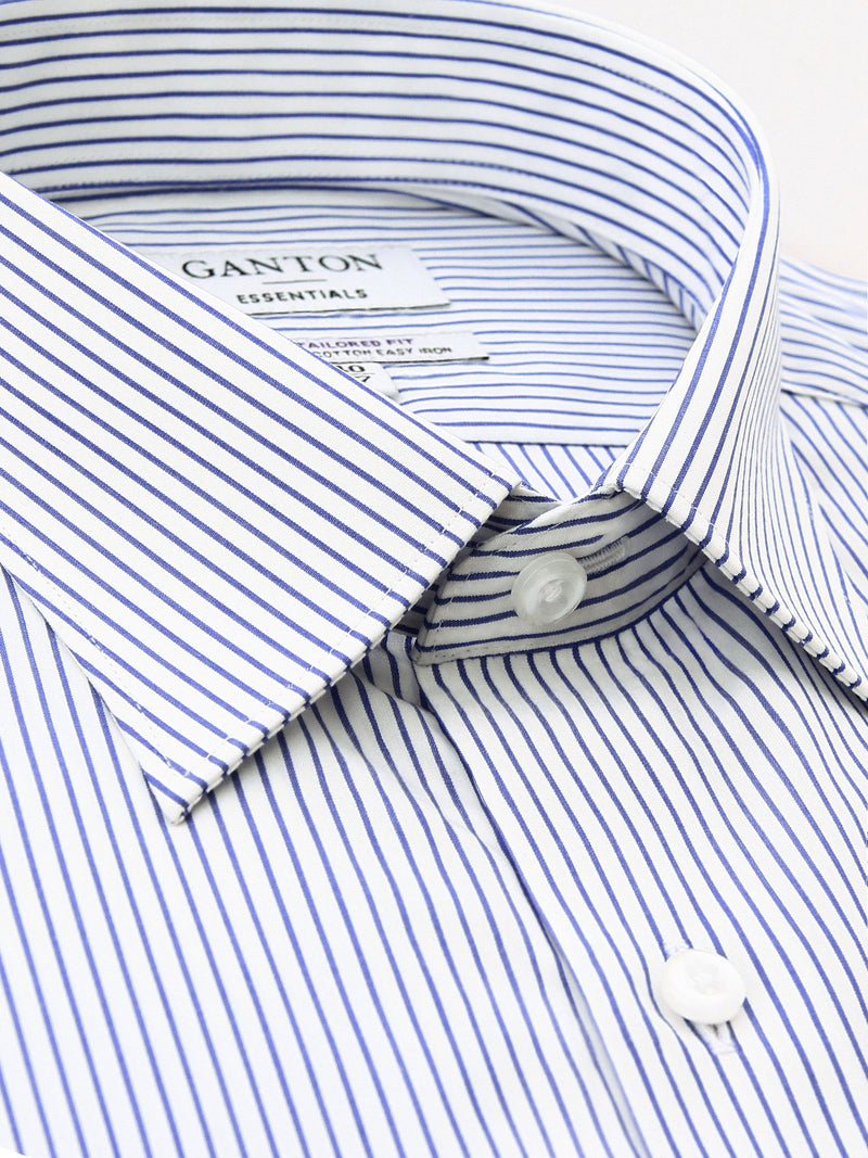 Navy White Stripe Slim Fit Edwick Easy Iron Superfine Cotton Essentials Shirt