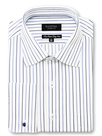 White Navy Stripe Classic Fit Zach Easy Iron Pure Cotton Shirt