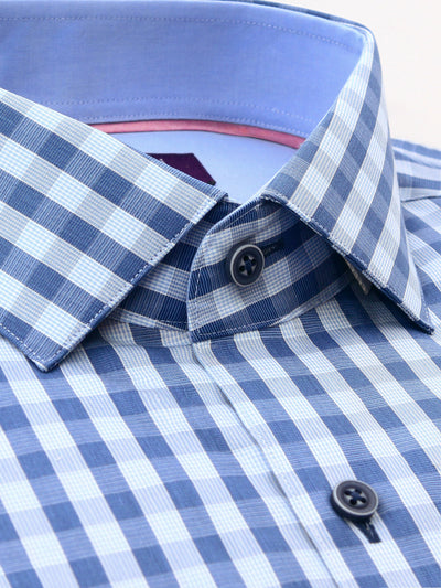 Mid Blue Check Slim Fit Griffin Easy Iron Pure Cotton Shirt