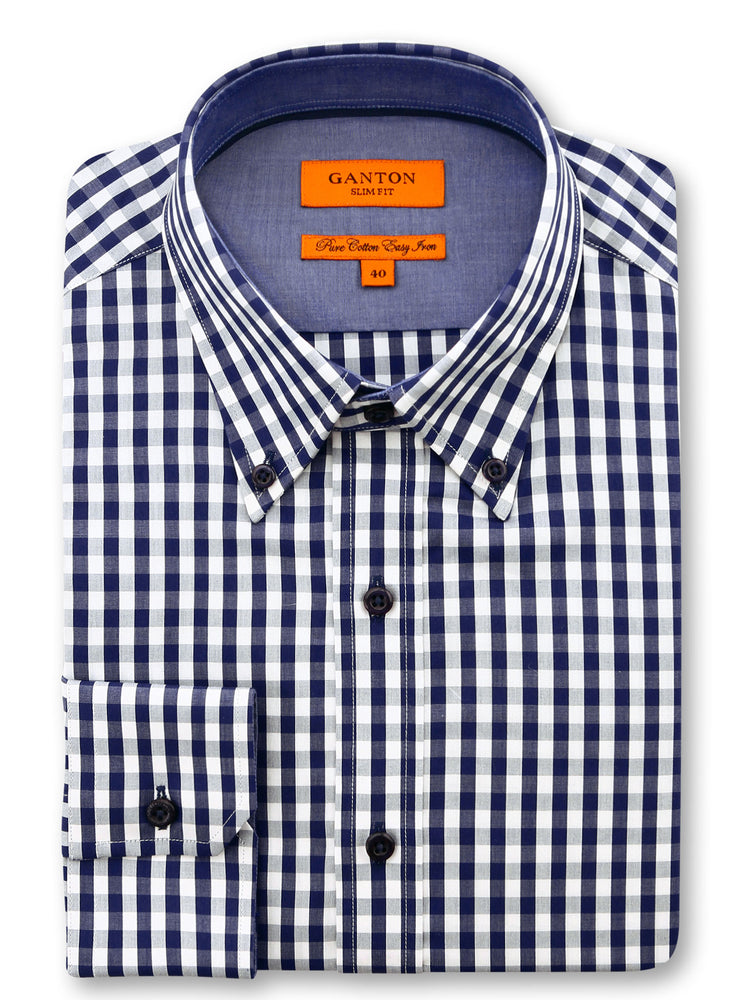 Navy White Check Slim Fit Henry Easy Iron Cotton Shirt
