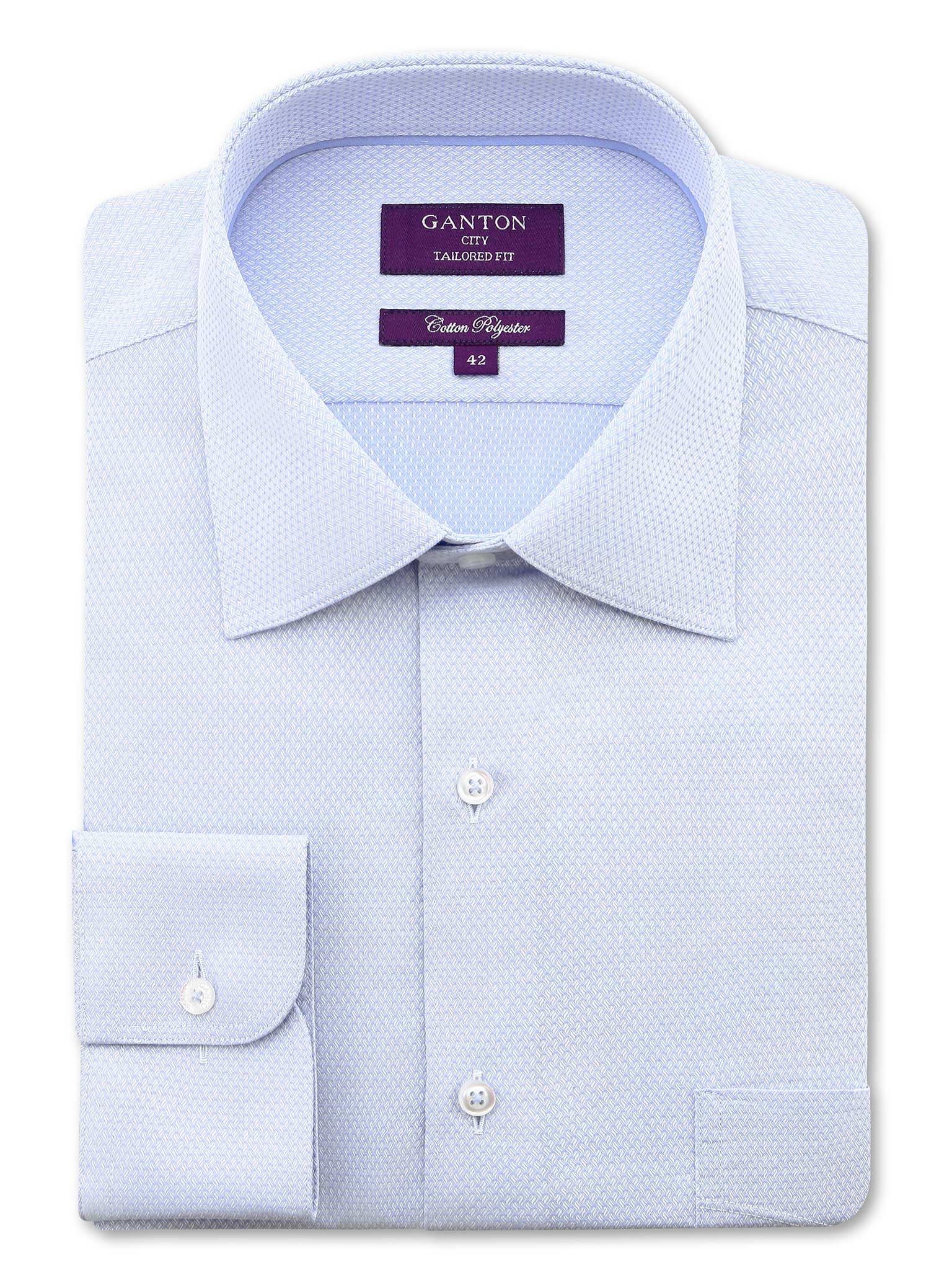 All Light Blue Textured Tailored Fit Cody Cotton Polyester Shirt