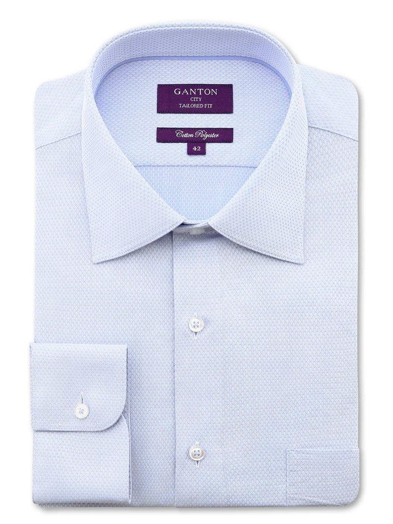 Light Blue Textured Tailored Fit Cody Cotton Polyester Shirt
