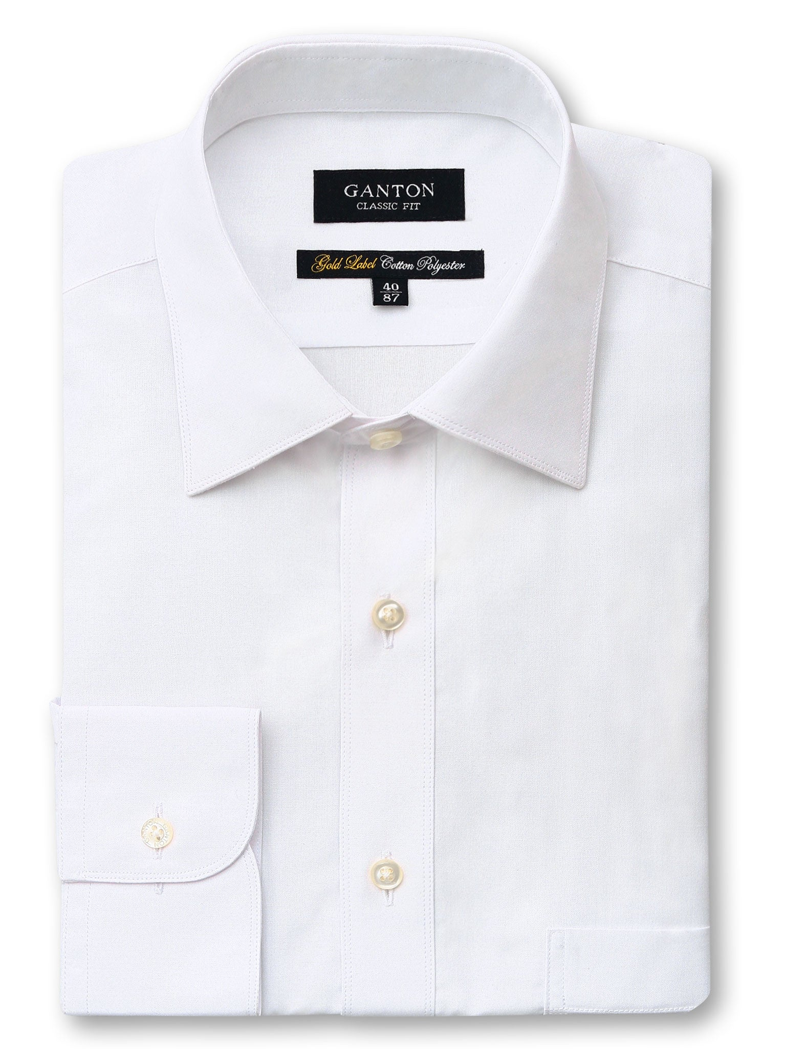 All White Gold Label Classic Fit Cotton Polyester Shirt