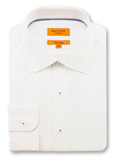 White Navy Print Slim Fit Luis Cotton Shirt