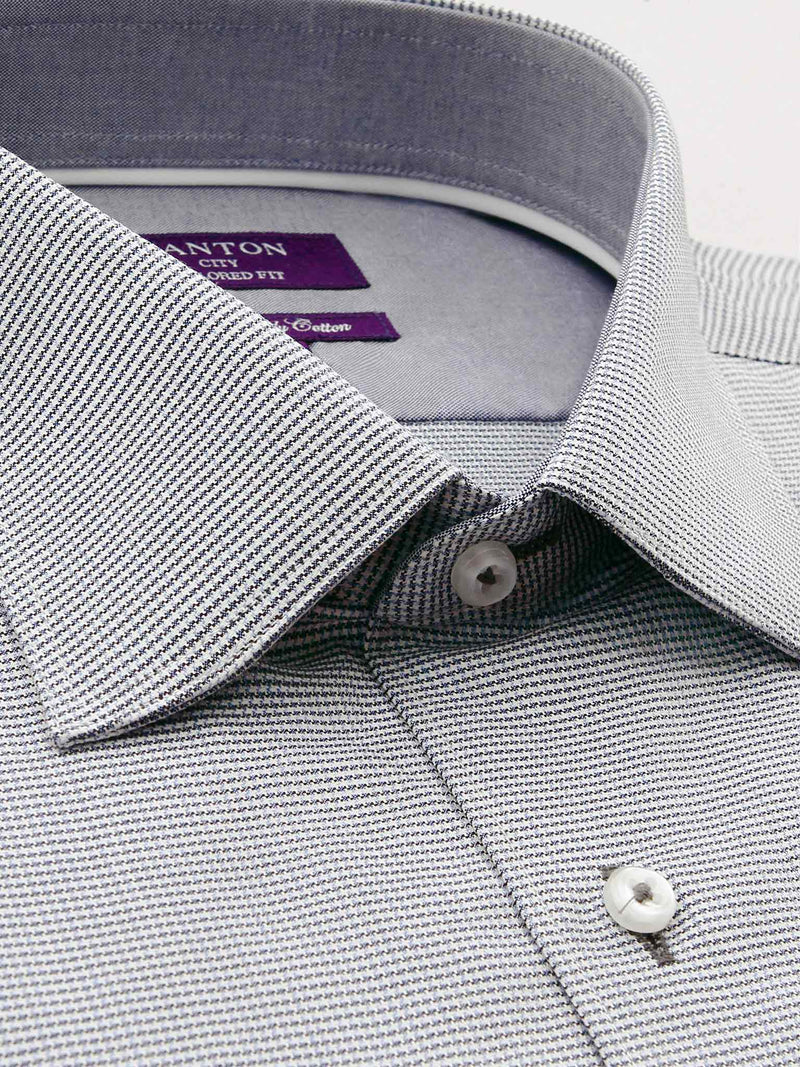 Full Grey Textured Tailored Fit Billy Luxury 2 Ply Cotton Shirt
