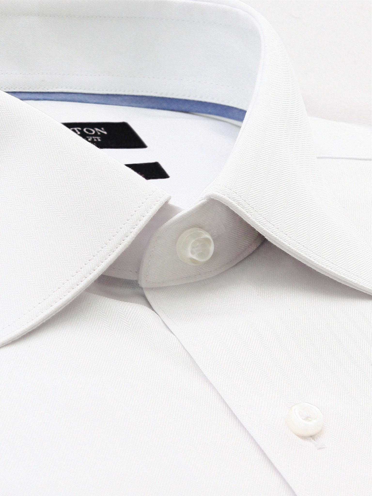 White Textured Classic Fit Mark Cotton Polyester Shirt