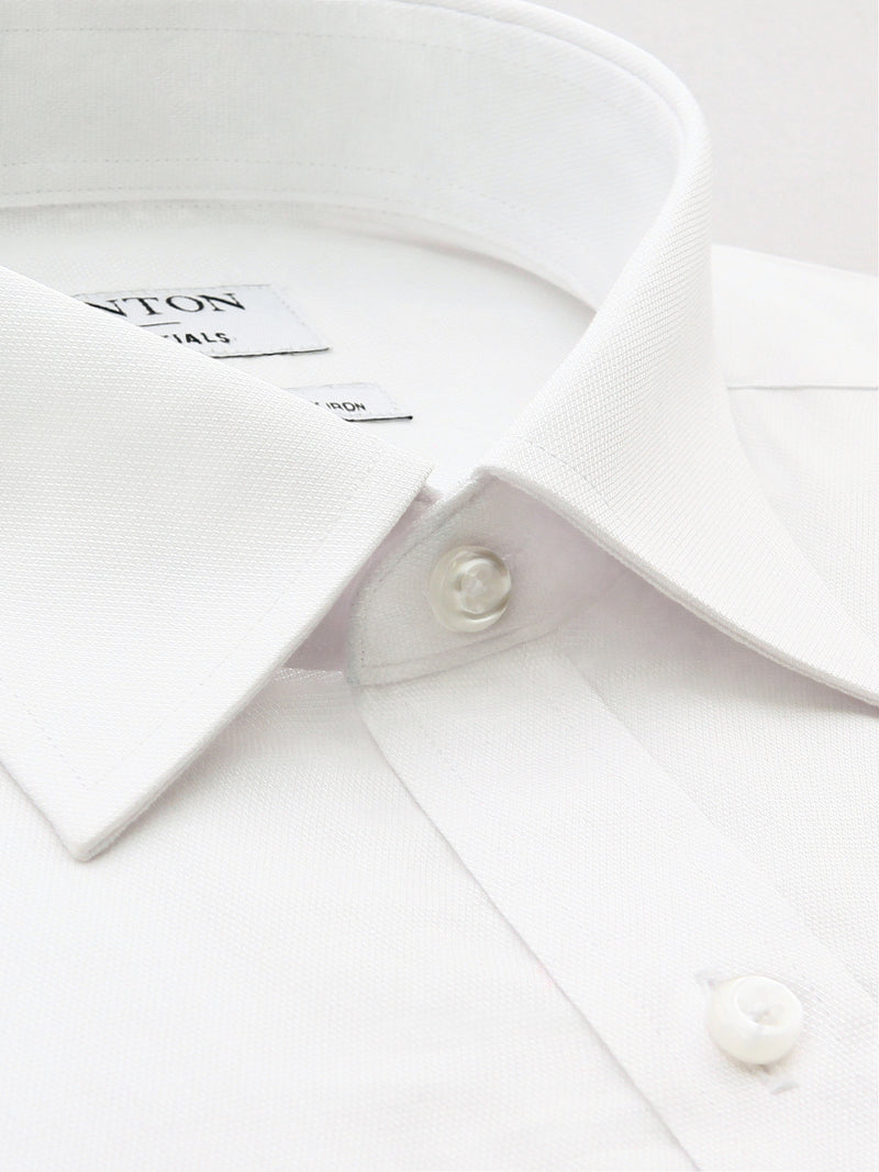 All White Classic Fit Edward Easy Iron Superfine Cotton Essentials Shirt