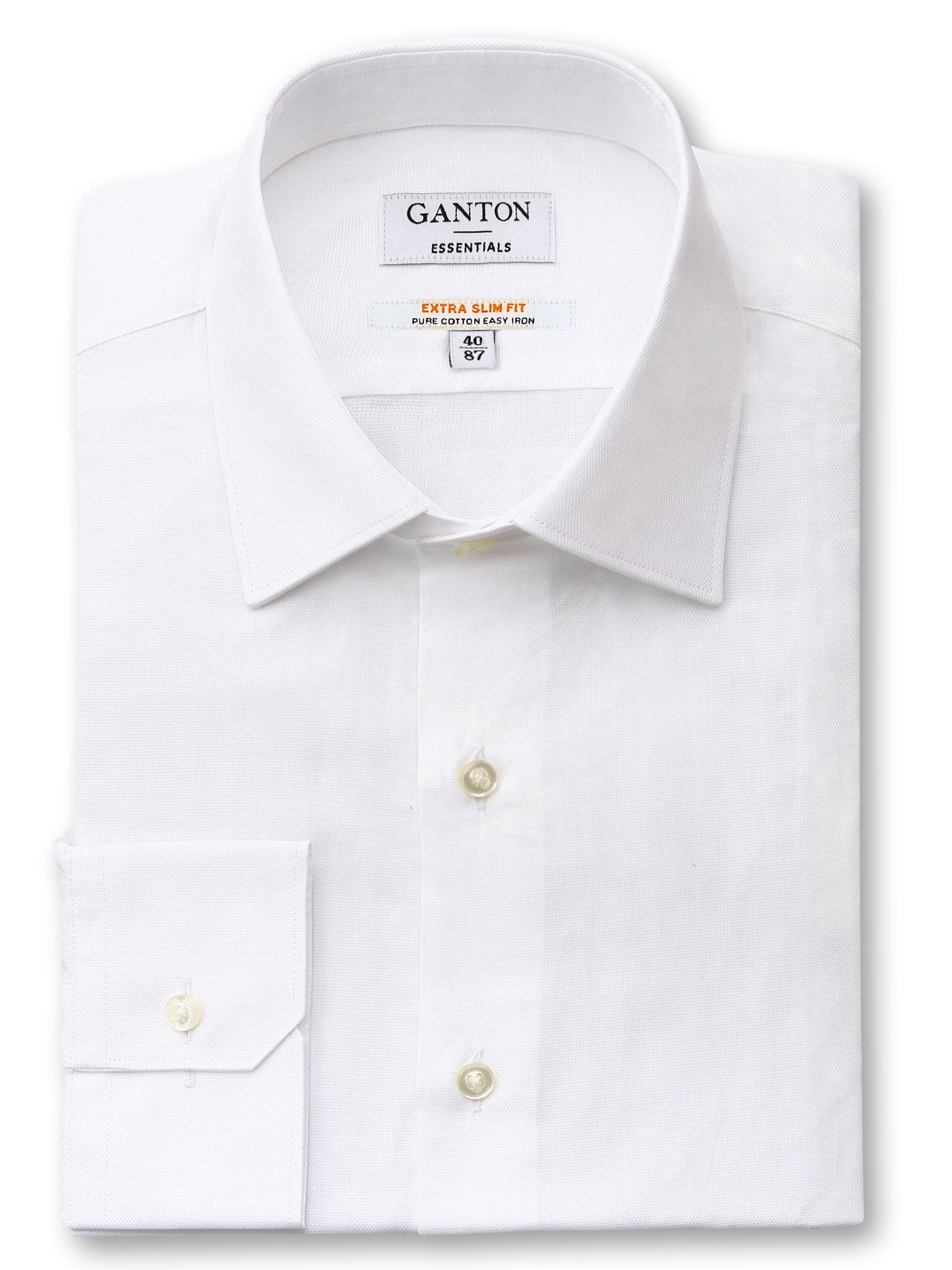 White Slim Fit Edwin Easy Iron Superfine Cotton Essentials Shirt
